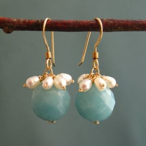 Amazonite & Pearl Earrings €64