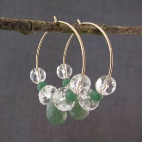 Aventurine & Quartz Crystal Hoop Earrings €52