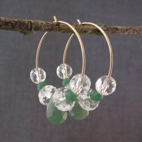 Aventurine & Quartz Crystal Hoop Earrings €52