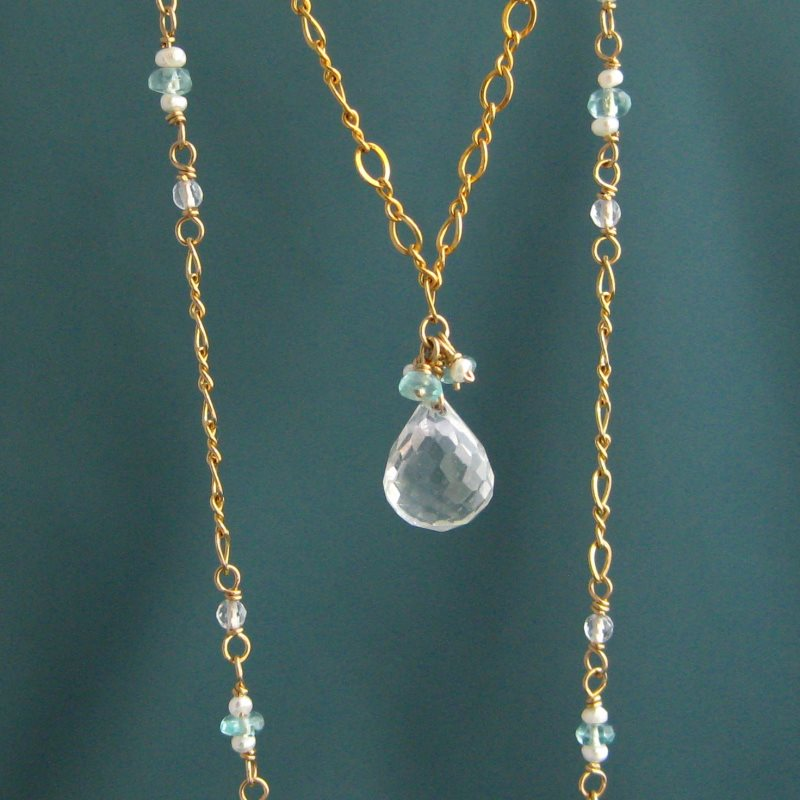 Crystal Quartz, Pearl & Apatite Necklace