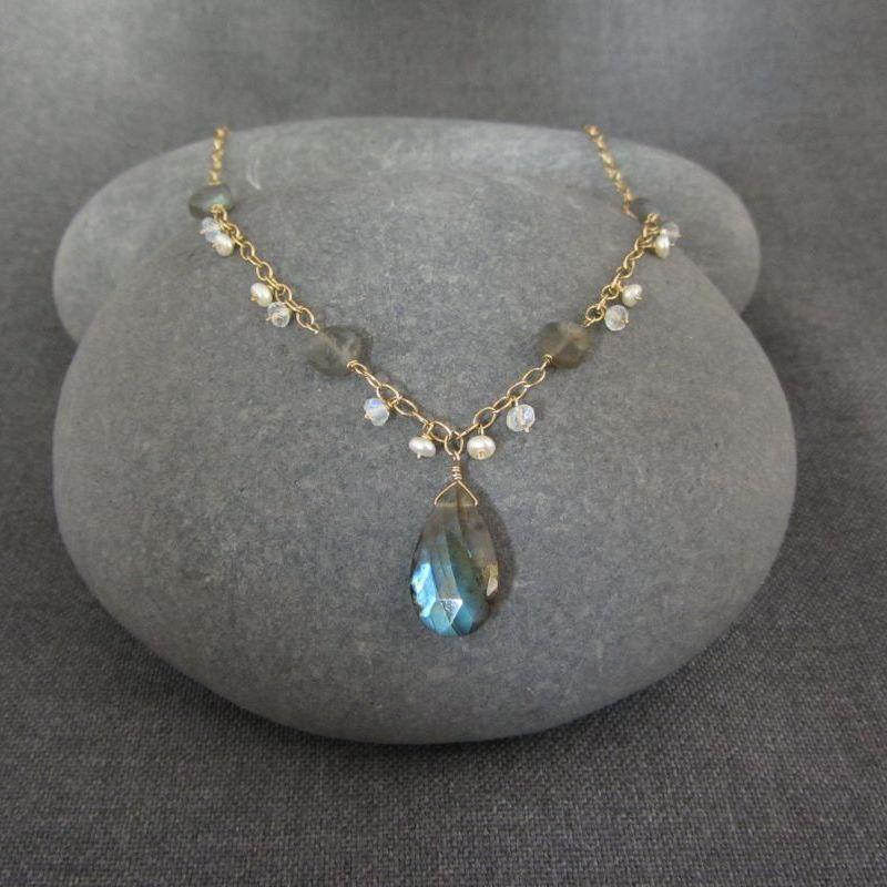 Labradorite Moonstone Amp Pearl Necklace Fleur Gemstone