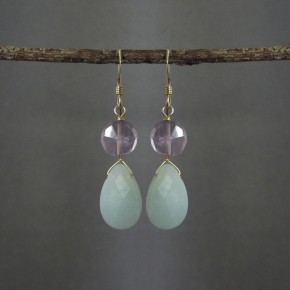 Amazonite & Amethyst  Earrings €50
