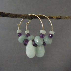 Amazonite & Amethyst Hoop Earrings €52