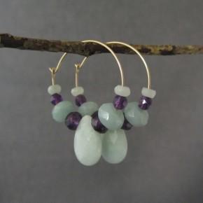 Amazonite & Amethyst Hoop Earrings €52
