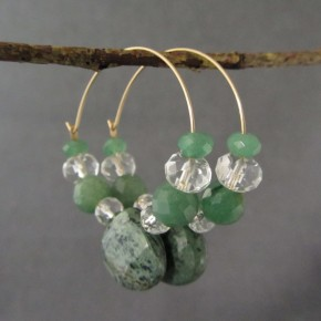 Jasper, Aventurine & Quartz Crystal Hoop Earrings €59