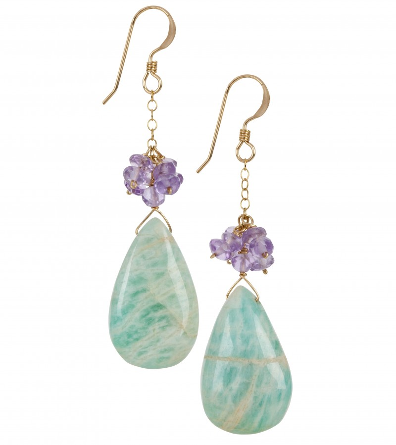 Fleur Jewellery - Blue Amazonite Amethyst and Gold Earrings - High Res