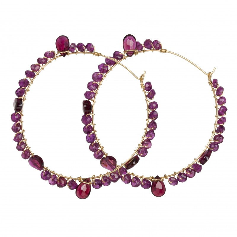 Fleur Jewellery - Red Garnet Hoop Gold Earrings - High Res