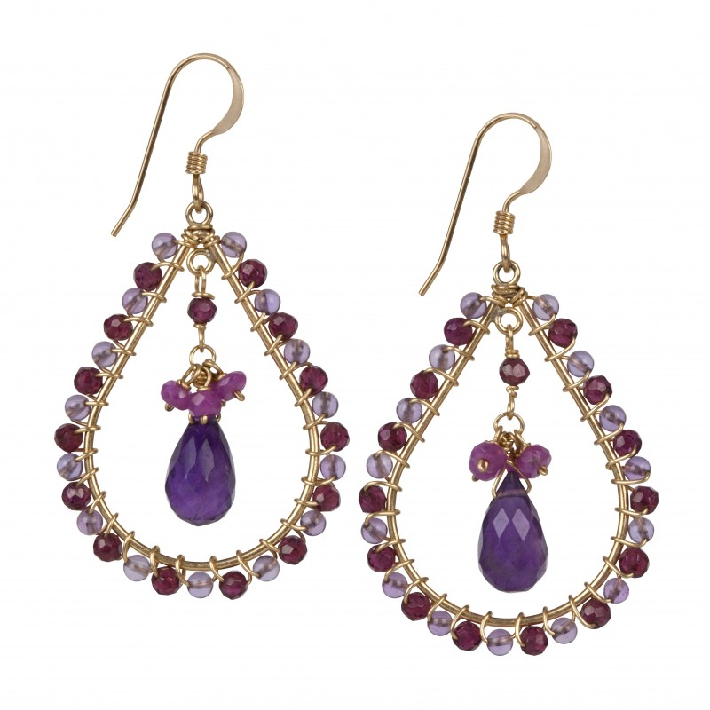 Fleur Jewellery - Amethyst Garnet and Pink Sapphire Gold Earrings - High Res