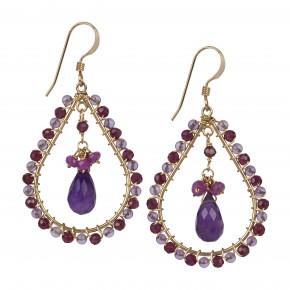Amethyst, Garnet & Sapphire Earrings €120