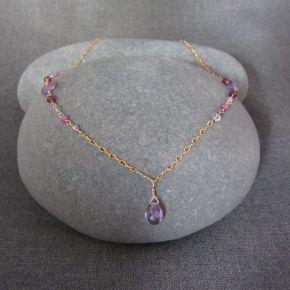 Amethyst, Garnet & Sapphire Necklace
