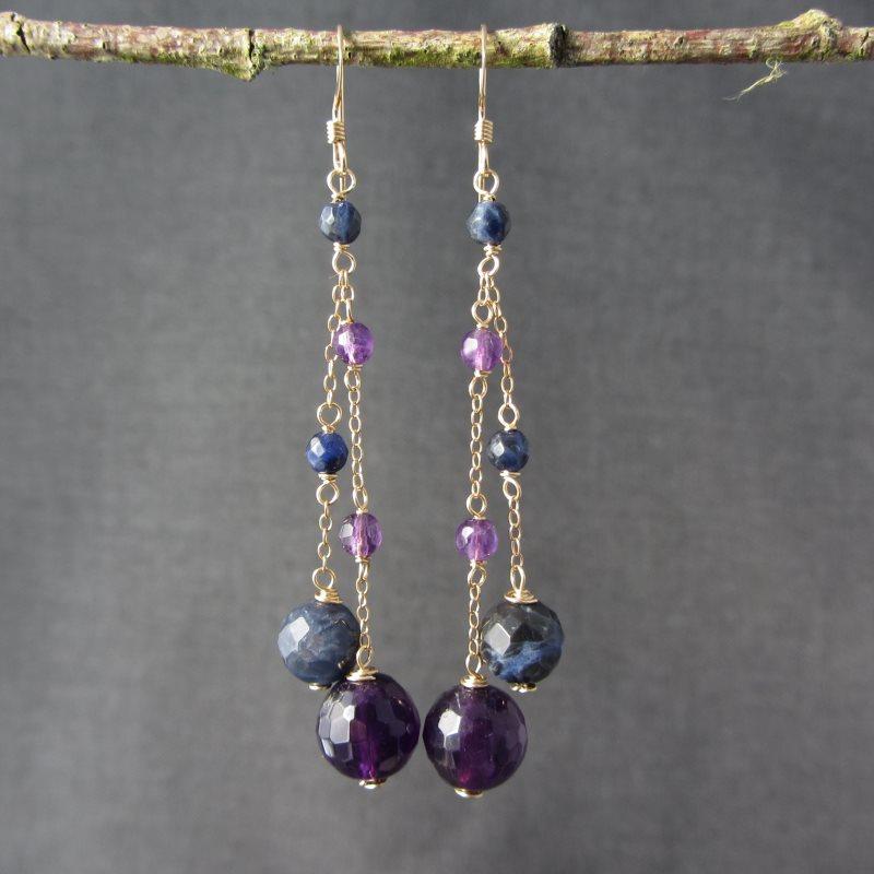 Amethyst & Sodalite Earrings