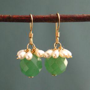 Aventurine & Pearl Earrings