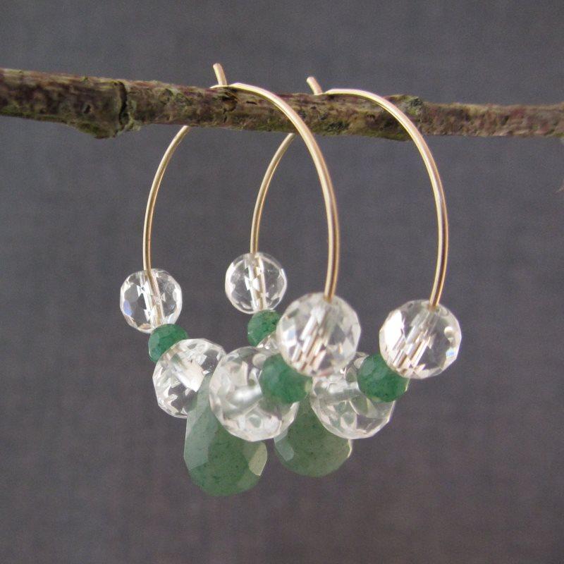 Aventurine & Quartz Crystal Hoop Earrings