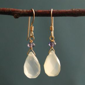 Chalcedony & Iolite Earrings