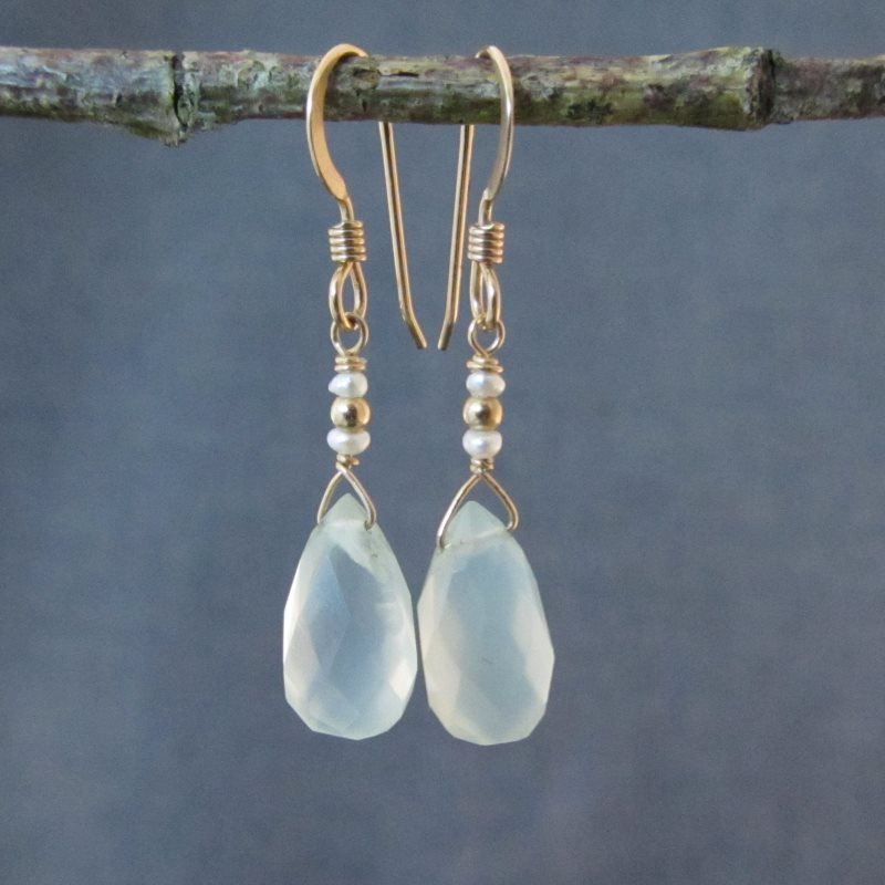 Chalcedony & Pearl Earrings