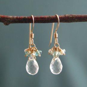 Crystal Quartz, Pearl & Apatite Earrings