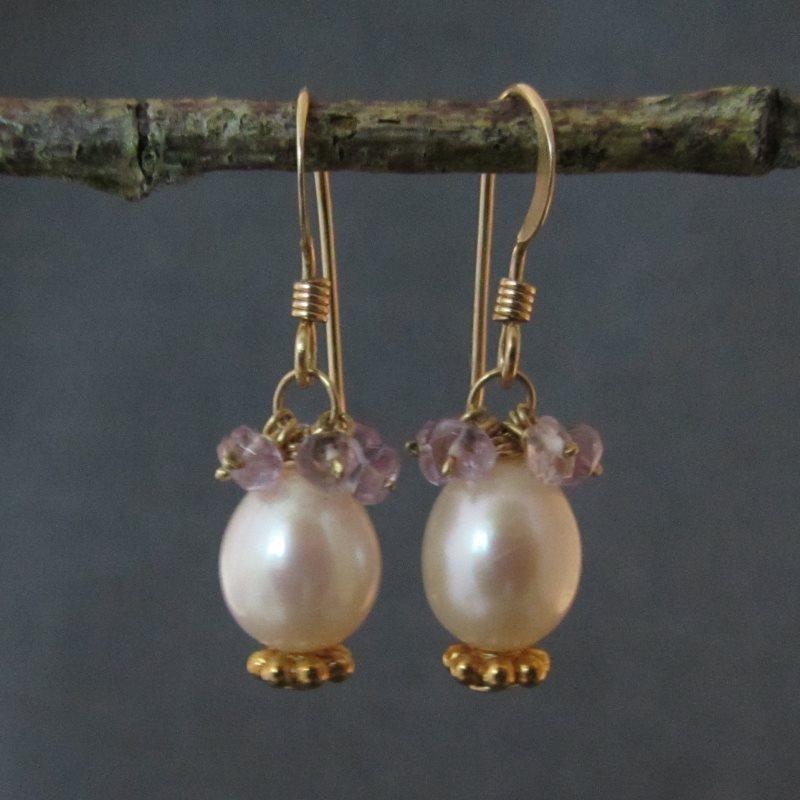 Pearl & Amethyst Earrings