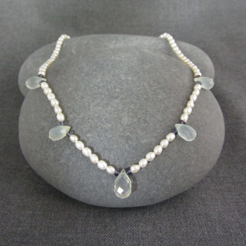 Pearl, Chalcedony & Iolite Necklace