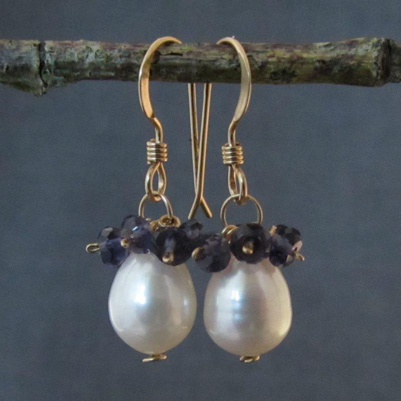 Pearl & Iolite Earrings