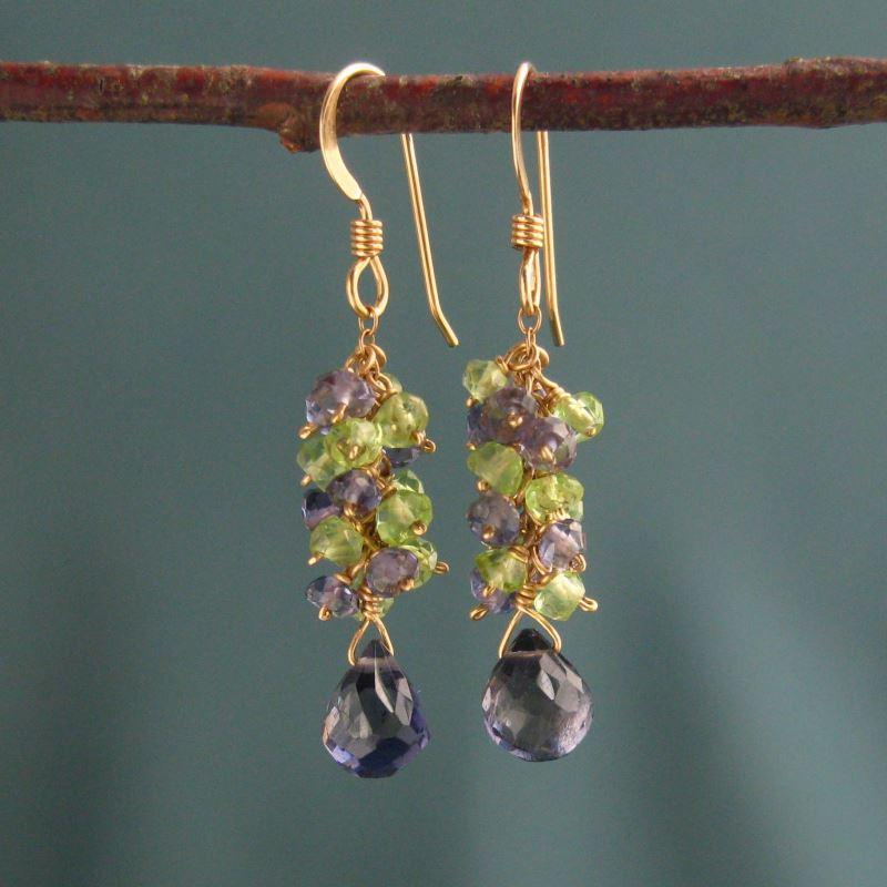 Iolite & Peridot Earrings