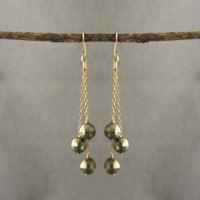 Pyrite triple strand Earrings €64