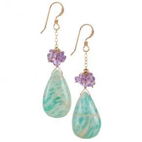 Amazonite & Amethyst Earrings €64