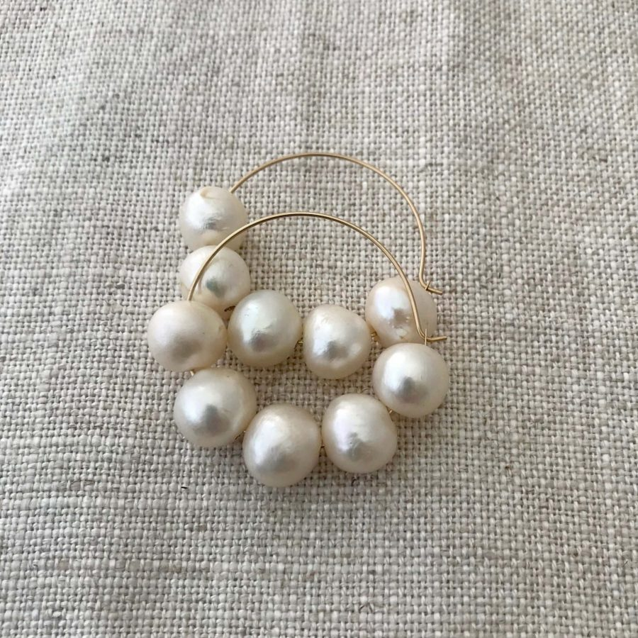Freshwater Pearl Gold Filled Hoop Earrings