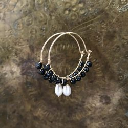 Black Spinel Pearl Hoop Earrings